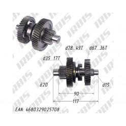 Вал КПП с шестернями (L=117mm) 157QMJ T150