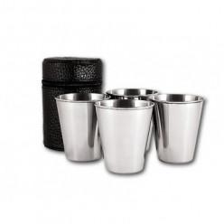 Набор стаканов 4 шт в чехле с коже средний