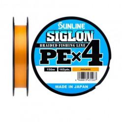 Плетеный шнур SUNLINE SIGLON PE 4 #0.3/5LB 150м оранжевый