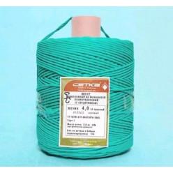 Шнур полиэтиленовый ШПЭМН 16-прядный с сердечником 4мм 50м зеленый