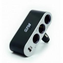 Разветвитель прикуривателя 12/24 (на 3 вых.+USB)CS312U