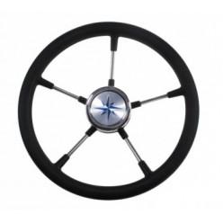 Рулевое колесо RIVA RSL обод черный спицы серебрянные д.360мм VN35022-01
