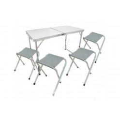 Набор стол раскладной водостойкий+4 табурета 60х120 TABS-04