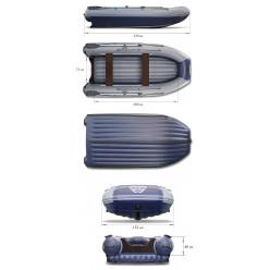 Надувная моторная лодка ФЛАГМАН-DK 320 с доп. опциями: тент носовой, якорный рым, накладки на банки