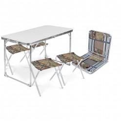 Комплект мебели складной,стол с полкой+4 стула ССТ-К3/6 дубовые листья
