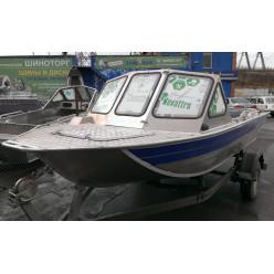 Алюминиевая моторная лодка RusBoat-43 JET PRO транец 380мм открытый нос
