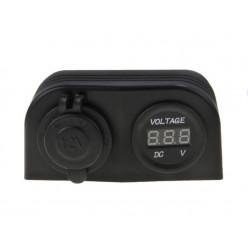 Разъем прикуривателя и цифровой вольтметр для крепления на двойной панели AES121440PV