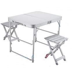 Набор мебели (стол+2 стула) большой алюминиевый 118-028
