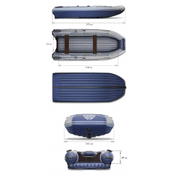 Надувная моторная лодка ФЛАГМАН-DK 370 I серо/синий