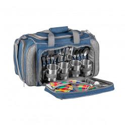 Набор для пикника на 4 персоны синий/серый HS-605 BG