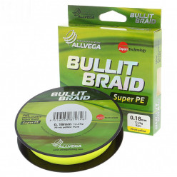"Плетёный шнур ALLVEGA ""Bullit Braid""135м.,флуо-жёлт.,0,30мм(23,4кг)"