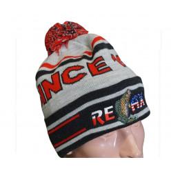 Фирменная вязанная шапка Relax серая с красным  p.60