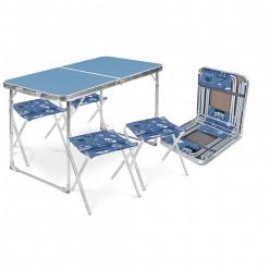 Комплект складной,стол + 4 стула ССТ-К2 голубой-джинс