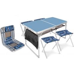 Комплект мебели складной,стол с полкой+4стула ССТ-К3/4 голубой джинс