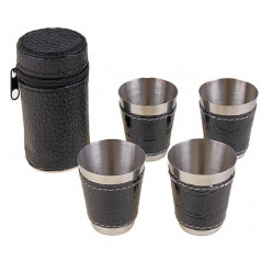 Набор стаканов 4шт в чехле с кожей большой
