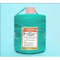 Шнур полиэтиленовый ШПЭМН 16-прядный с сердечником 6мм 1 кг желто- зеленый