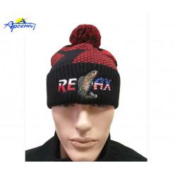 Фирменная вязанная шапка Relax красная с черным  p.58