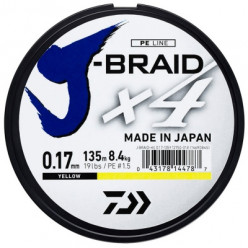 Шнур Daiwa J-Braid X4 Yellow 0.25mm 135m