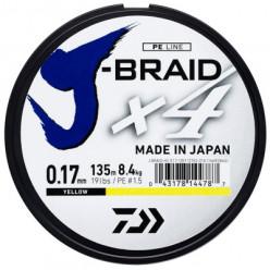 Шнур Daiwa J-Braid X4 Yellow 0.25mm 135m