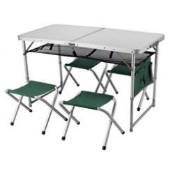 Набор мебели (стол+4 стула) большой алюминиевый 118-029