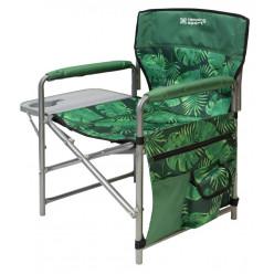 Кресло складное с полкой КСП/2 с тропическими листьями тёмный