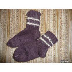 Носки шерстяные черные/белая полоса